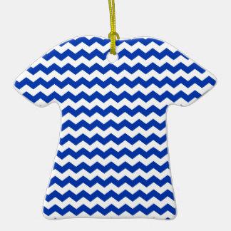 Blue white chevrons Double-Sided T-Shirt ceramic christmas ornament