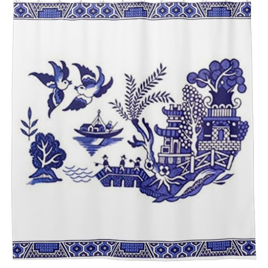 Blue & White China Blue Willow Design Shower Curtain
