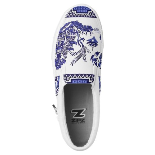 Blue & White China Blue Willow Design Slip-On Sneakers