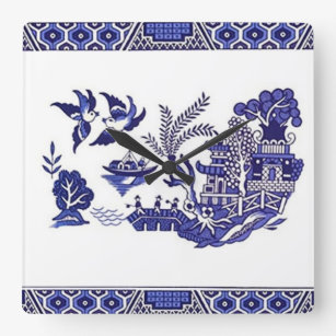 Blue White China Willow Design Square Wall Clock