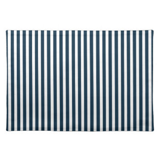 Blue & White Christmas Candy Cane Pattern Cloth Place Mat