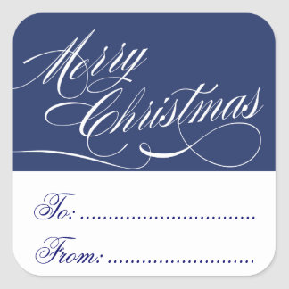 BLUE WHITE CHRISTMAS GIFT TAG STICKERS