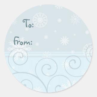 Blue White Christmas Snowflake Gift Tags Round Stickers