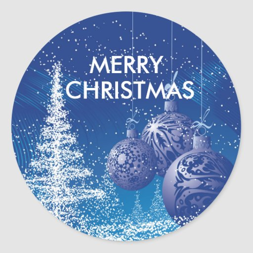White Christmas Tree Blue Ornaments : Blue white christmas tree ornaments classic round sticker zazzle