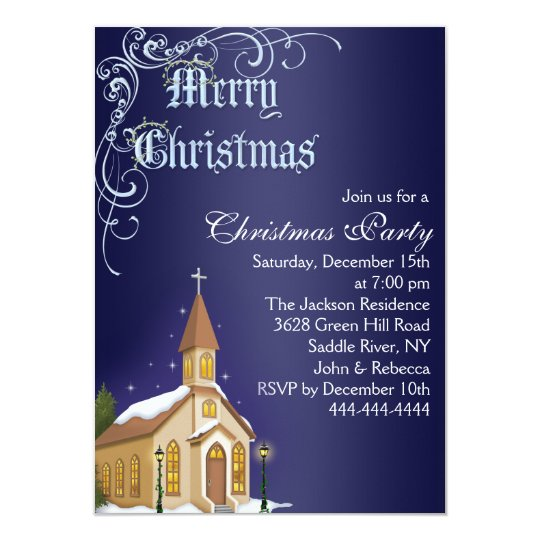 Blue & White Church Christmas Party Invite