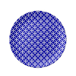 Blue White Circle of Life Porcelain Plate