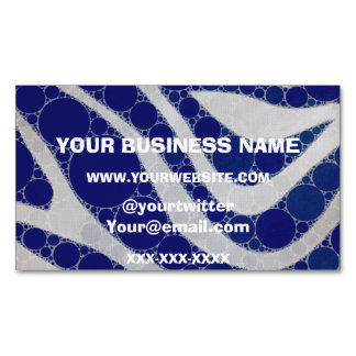 Blue White Circle Zebra Abstract Business Card Magnet