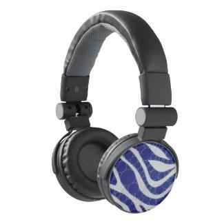 Blue White Circle Zebra Abstract Headphones