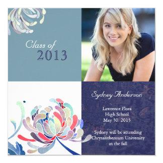 Blue + White Class of 2013 Girl Photo Graduation Card