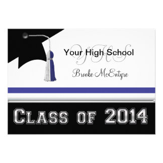 Blue & White Class of 2014 Graduation Invitation