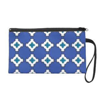 Blue White Classy Diamond Bagettes Wristlet Bag