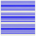 [ Thumbnail: Blue & White Colored Stripes/Lines Pattern Fabric ]
