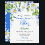"Blue White Country Daisy 80th Birthday Invite<br><div class=""desc"">Cornflower blue, yellow, green and white daisy floral 80th birthday invitation. This blue and white daisies adult birthday invitation is a good choice for a summer birthday or a spring birthday. This white chamomile daisy or shasta daisy flower 80th birthday invitation features beautiful watercolor white petal, yellow center daisy bouquets...</div>"