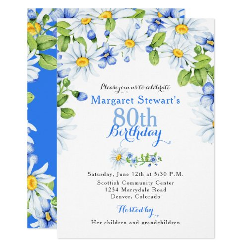 Sip Hooray 80th Birthday Invitations For Women Blue White Country Daisy Invite