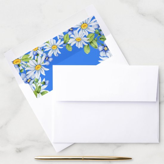 Blue White Country Daisy Envelope Liner