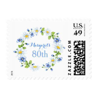 Blue White Country Daisy Floral 80th Birthday Postage
