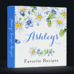 """Blue White Country Daisy Floral Recipe Binder<br><div class=""""desc"""">Blue and white country chamomile daisy floral bridal shower recipe binder (recipe card inserts are not included but plastic insert sheets can be purchased from a variety of stores). This cornflower blue and white daisies personalized recipe binder is a good choice for a summer wedding shower or a spring wedding...</div>"""