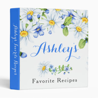 Blue White Country Daisy Floral Recipe Binder