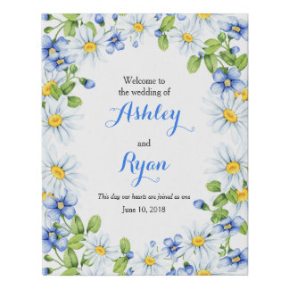 Blue White Country Daisy Floral Wedding Welcome Faux Canvas Print