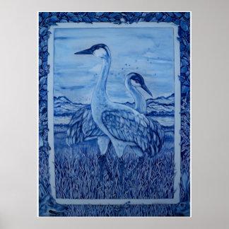 Blue & White Cranes Wetlands Coyote Rabbit Poster