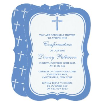 Beach Themed Blue & White Cross Holy Communion Or Confirmation Card