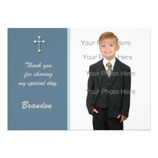 Blue White Cross Religious Photo Card Invitations
