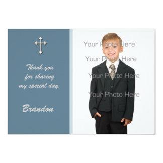 Blue White Cross Religious Photo Card Invitations
