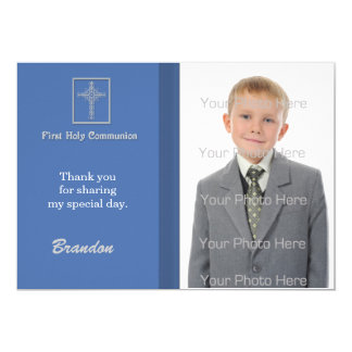 Blue White Cross, Striped Religious Photo Card