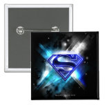 Blue-White Crystal Superman Logo Button