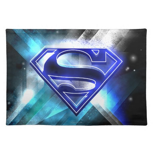 Blue White Crystal Superman Logo Placemats Zazzle