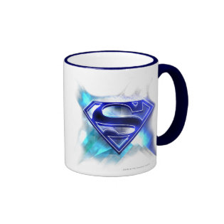 Blue-White Crystal Superman Logo Ringer Coffee Mug