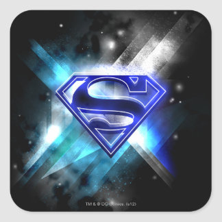 Blue-White Crystal Superman Logo Square Sticker