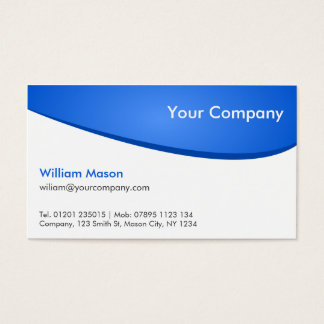 Blue White Curved, Professional Business Card