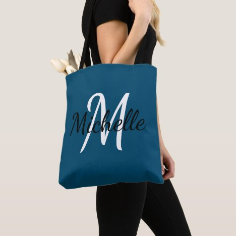 Blue & White Custom Monogram Tote Bag
