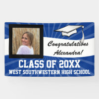 Blue/White Custom Photo Graduation Sign