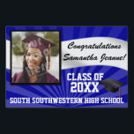 "Blue/White Custom Photo Graduation Yard Sign<br><div class=""desc"">Congratulations to the class of (your year). Customize this personalized yard banner sign with your graduate&#39;s photo,  name,  year and school or other custom text. Blue and white high school or college colors.</div>"