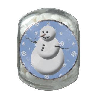Blue & White Cute Snowman Holiday Candy Tin