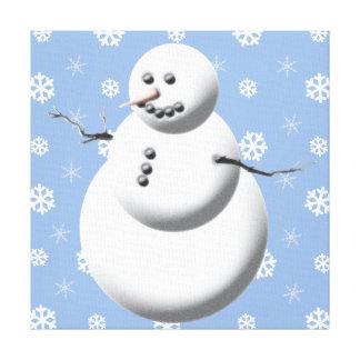 Blue & White Cute Snowman Holiday Canvas Wall Art