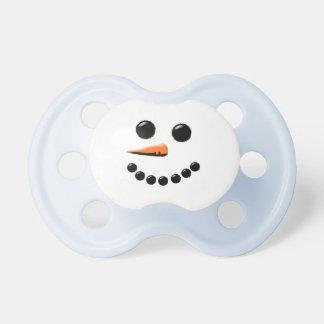 Blue & White Cute Snowman Holiday Pacifier