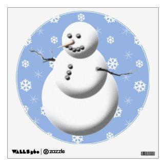 Blue & White Cute Snowman Holiday Wall Decal