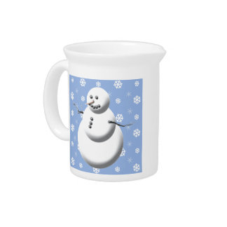 Blue & White Cute Winter Snowman Holiday Pitcher