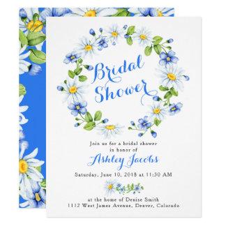 Blue White Daisy Floral Bridal Shower Invitation
