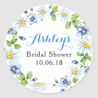 Blue White Daisy Floral Bridal Shower Thank You Classic Round Sticker