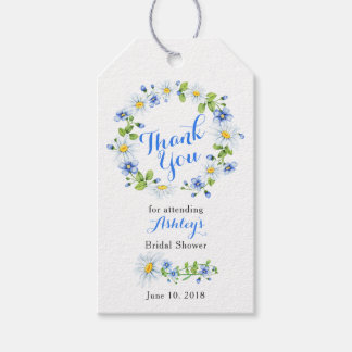 Blue White Daisy Floral Bridal Shower Thank You Gift Tags