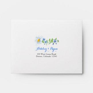 Blue White Daisy Floral Wedding RSVP Envelope