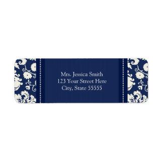 Blue White Damask Custom Return Address Labels