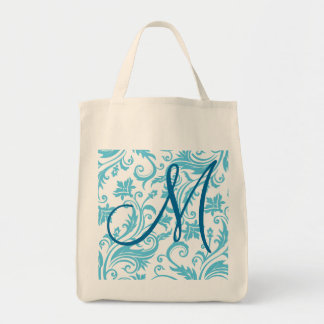 Blue White Damask Monogram Canvas Bags