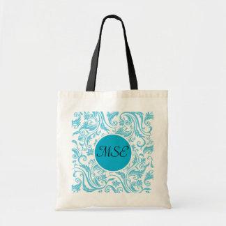 Blue White Damask Monogram Tote Bag