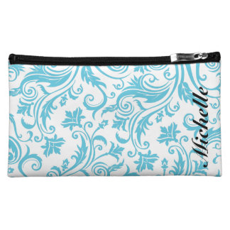 Blue White Damask Monogram Cosmetics Bags