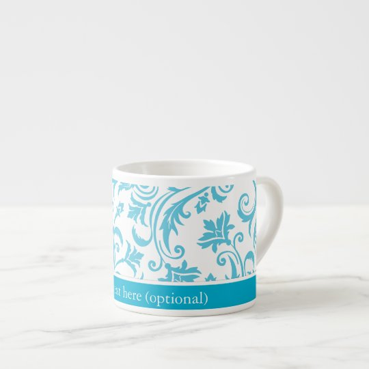 Blue White Damask Monogram Espresso Cup